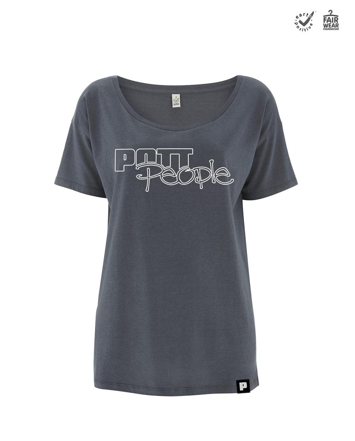 T-Shirt Damen Oversized Dunkelgrau/Weiß
