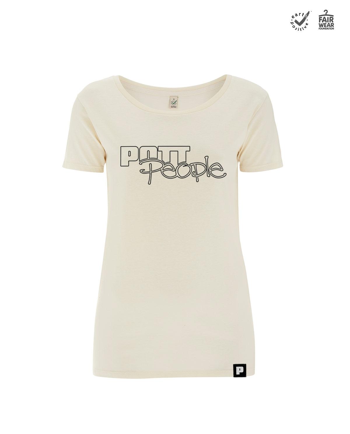 T-Shirt Damen Open Neck Linen/Schwarz